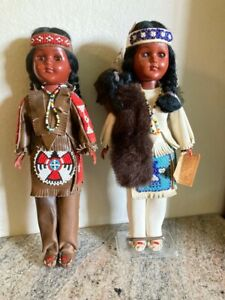 """TWO 11"""" Carlson Native American Collector Dolls Fancy Leather/Beads 11-1W Stand"""