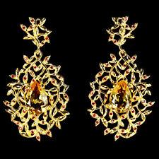 45x24 mm. 925 Sterling Silber Ohrringe, Gelbgold beschichtet, Gelb Citrin & CZ