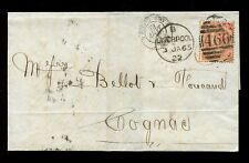 Gb Qv 1865 Garter Wmk 4d Sg82 Ik.Liverpool B Duplex + Red Pd to Cognac.cv £250