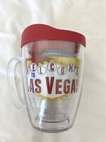 Tervis Mug 16Oz LAS VEGAS Sign Emblem NEW With Red Travel Lid Gambling