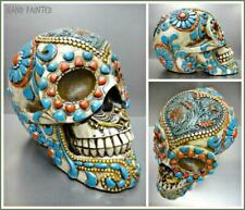 Gothic Day Of The Dead Turquoise Flower SKULL Skeleton HEAD Sculpture Figurine