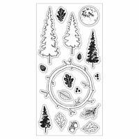 Enchanted Forest Clear Acrylic Stamp Set by Fiskars Stamps NEW! Trees & Wreath