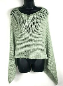 Chicos OS Dominique Sutton Poncho Mint Shimmer Light Green knit open asymmetric