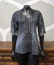 PRANA Gray Purple Geometric Print V Neck Sheer Top - Small