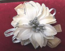 Two Tone Golden Beige/Silver Wrist Corsage  -  Prom, Wedding etc.  by Valerie J
