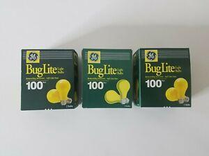 Vintage GE 100 Watt Yellow Bug Light Bulbs NOS Lot of 6 Bulbs Free Shipping
