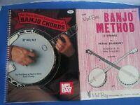 2 Books - Mel Bay's Banjo Method 1967 &  Deluxe Encyclopedia of Chords 1973