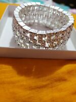 New  Women Fashion Crystal Bracelet Bangle Adjustable Tennis Silver Tone