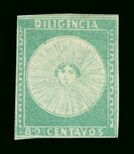 URUGUAY 1856  DILIGENCIAS  80c green  - Pos. 22 -  Scott # 2  MINT MH - Scarce