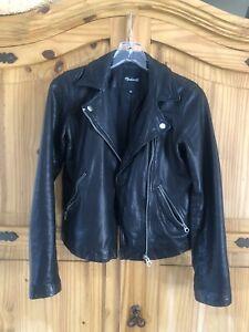 Madewell Washed Leather Motorcycle Jacket Sz Small Black