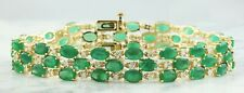 22.88 Carat Natural Emerald 14K Solid Yellow Gold Luxury Diamond Bracelet