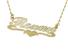 14k Solid Yellow Gold Personalized Name Necklace with Lower Sparkling Heart