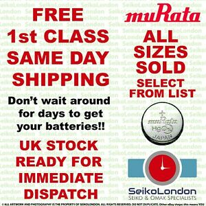 Murata (Sony) Silver Oxide Watch Battery ALL SIZES OF WATCH BATTERIES - FAST!!