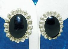 ONYX SOLITAIRE AND BEADED ACCENTS EARRINGS SOLID .925 STERLING SILVER 14.5 g