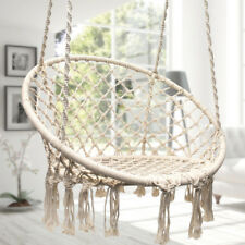 Beige Hanging Hammock Cotton Woven Rope Wooden Bar Swing Patio Chair Seat