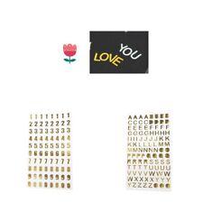 Hazlo tú mismo oro letras del alfabeto/Número Adhesivos HAZLO TÚ MISMA Decoración de álbumes de recortes Auto Adhesivo