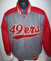 SAN FRANCISCO 49ERS STARTER Traditional Wool Blend Jacket Red / Gray LARGE