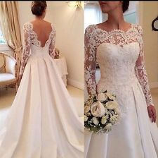 UK Plus SIze White/ivory Long Sleeve Wedding Dress Bridal Gown  Size 6-26