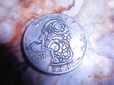 1968 hobo nickel Washington quarter steampunk gears hand engraving