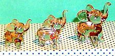 Elephant Trunk Up Pink ArtGlass MINI figurines graduated size grouping 6 pcs.