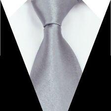 Brand New Formal Wedding Groom Solid Men's Silk Tie Silver Gray Necktie S08