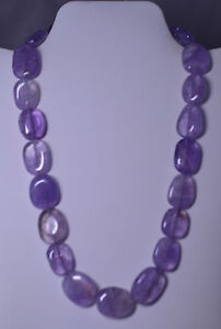 HEAVY CHUNKY FLAT OVAL AMETHYST BEAD 20 INCH NECKLACE WITH STERLING SILVER CLASP