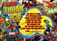 boys Birthday Party Thank you card Marvel Heroes super hero,x8 Cards-Thick