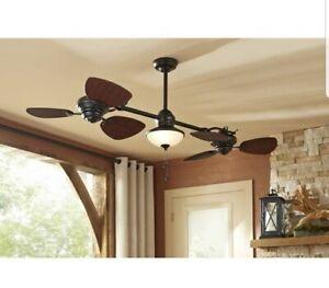 """Harbor Breeze Twin Breeze II 74"""" Oil-rubbed Bronze Outdoor Downrod Ceiling Fan"""