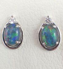 Genuine Australian Triplet Opal Stud Earrings Cubic Zirconias Sterling Silver
