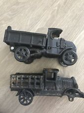 2 Vintage Cast Iron Toy Trucks C-Cab Stake And Dump Truck