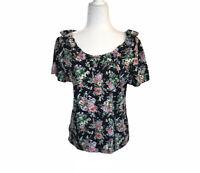 Chaps Women's T-shirt Black Pink Floral Ruffle Collar Cotton Blouse Large L