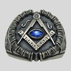 Masonic All Seeing Eye Ring Sterling Silver Sapphire Handmade Freemason UNIQABLE