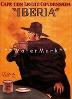Coffee Iberia 1924 Cafe Con Leche Vintage Poster Print Retro Style Cappiello Art