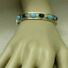 Jay King 925 Silver Sapphire & Turquoise Hinged Magnet Clasp Bangle Bracelet NEW