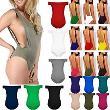Womens Ladies Scoop Neck Side Cutout Low Dip Back Backless Bodysuit Leotard Top