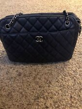 Chanel Navy Blue Quilted Handbag. 100% Authentic