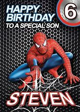 SPIDERMAN - PERSONALISED Birthday Card Add Your Own Name Age Relative Son Nephew