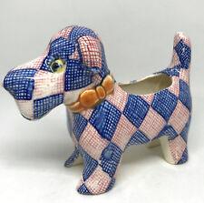 Ceramic Dog Planter Figurine Japan KKS719 Red Blue Plaid c1940s Schnauzer Scotty