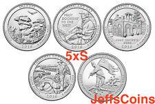 All 2016 S Set 5 Park Quarters U.S Mint ATB Uncirculated Shawnee - Ft Moultrie