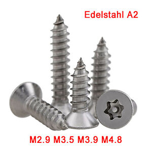 M2.9~M4.8 Torx Pin Countersunk Self Tapping Security Screws - A2 Stainless Steel