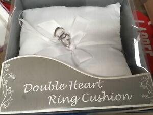 Wedding bridal ring white double heart  pillow cushion