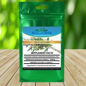 NoFillerSupplements 100% Pure Motherwort Vegetable Capsules NON-GMO