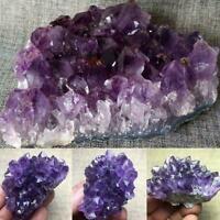 Natural Amethyst Quartz Geode Druzy Crystal Cluster Gifts Healing Specimen X9F5