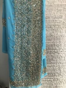Asian Pakistani Indian Saree Party Wedding Sari (without Blouse) Heavy Gold Work