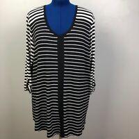 T|O Thomas & Olivia Women's Size 2X Striped Roll Tab Sleeve Stretch Tunic Shirt