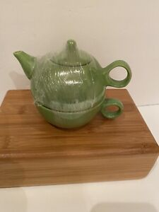 Old Amsterdam Porcelain Works Tea for One Stacking Teapot & Cup - Mojito Lime