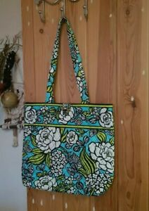 Gorgeous blue lime floral flower power print fabric tote bag, Vera Bradley