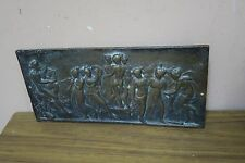 """Vintage bronze Iron? Figurative plaque Apollo with 9 Muses  4.5"""" x 9.5"""""""