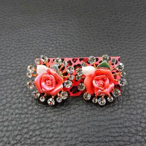 New Betsey Johnson Rare Alloy Rhinestone pink flowers stud Earrings Jewelry