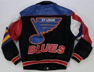 Rare Vintage JEFF HAMILTON St. Louis STL Blues Denim Leather Jacket 90s Youth M